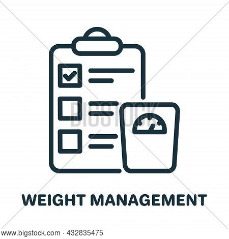Weight Management Line Icon. Body Mass Control Linear Pictogram. Plan For Weight Control On Clipboar