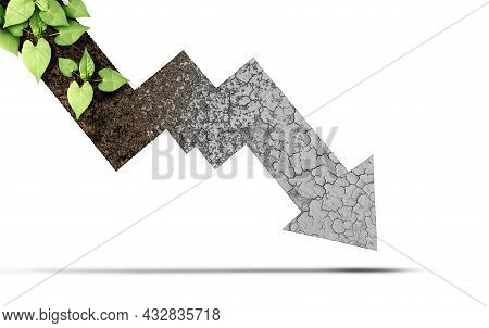 Climate Decline And Environmental Change Cycle As A Dried Or Dry Cracked Land Suffering From Drought