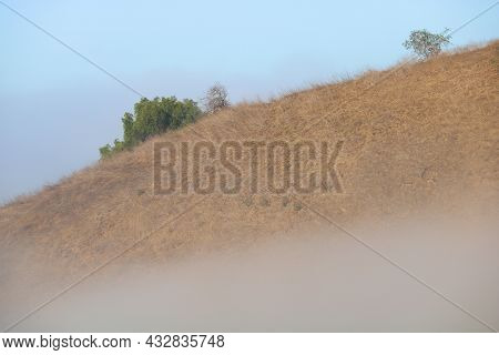 Fog Surrounding Rural Hills Covered With Grasslands And Chaparral Shrubs Taken In The Southern Calif