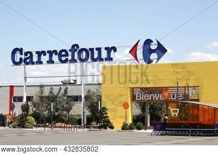 Roanne, France - May 31, 2020: Carrefour Hypermarket In France. Carrefour Is A French Multinational