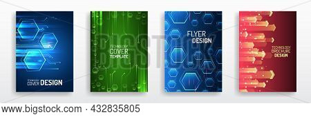 Business Layout, Futuristic Brochures, Flyers, Presentation. Digital Technology And Modern Science C