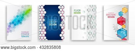 Vector Template For Brochure Or Cover With High Tech Elements And Hexagons Background. Business Layo