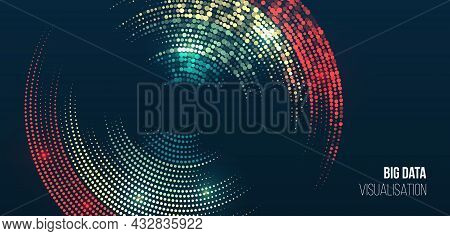 Vector Technology Background. Big Data Visualization. Abstract Stream Information With Colorful Circ
