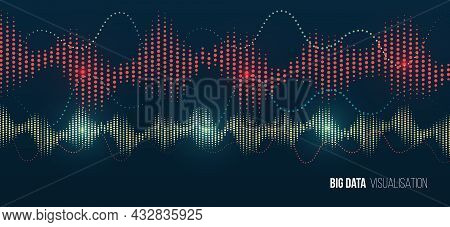 Big Data Visualization. Information Analytics Concept. Abstract Stream Information With Waves Array,