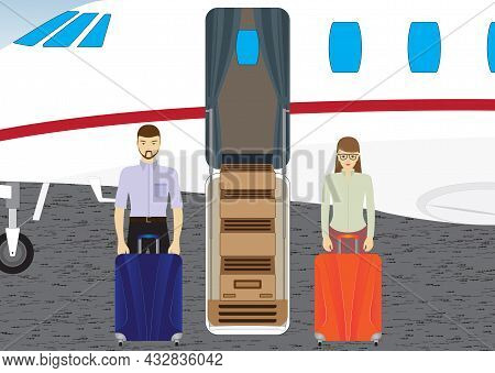 Passengers Near The Plane. Passengers Are Preparing For The Flight On The Plane.