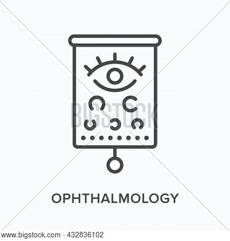 Ophthalmology Flat Line Icon. Vector Outline Illustration Of Optometry Examination. Black Thin Linea