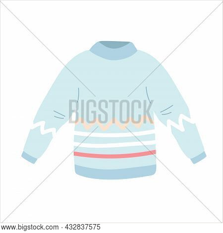 Flat Vector Cartoon Illustration Of A Blue Cozy Warm Sweater Or Jumper With Long Sleeves . Hand Draw