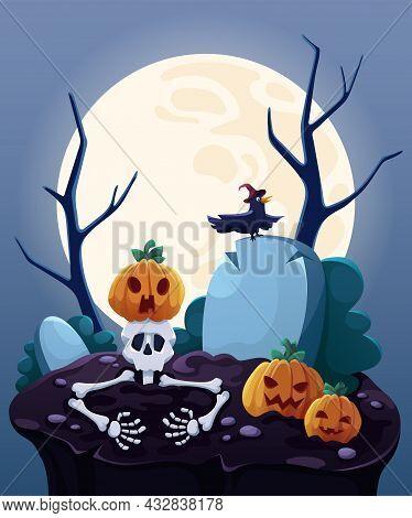 Halloween Card. Halloween Pumpkins Under The Moonlight. Halloween Pumpkin Patch In The Moonlight. Ca
