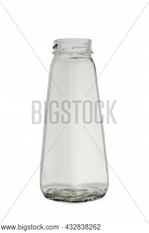 Empty, Transparent Glass Bottle For Sauces And Drinks. Isolated On A White Background, Close-up