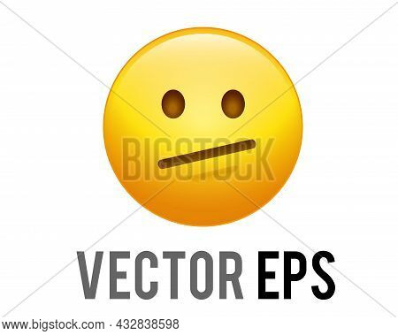 The Vector Muted Yellow Neutral Helpless, Disappointed, Upset Face Icon With Dotted Or Dashed Outlin
