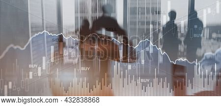 Trading Investment And Economics Concept. Mixed Media Trade Concept. Stock Market Universal Backgrou