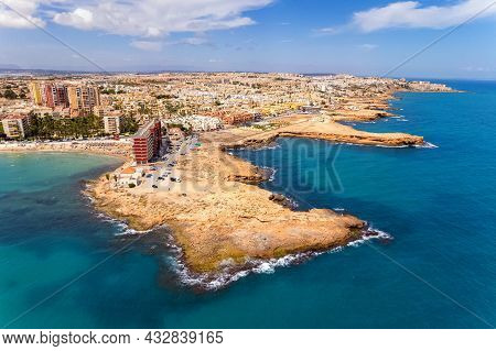Aerial Panoramic Drone Point Of View Rocky Coastline Of Spanish Tourist Resort Town Of Torrevieja Du