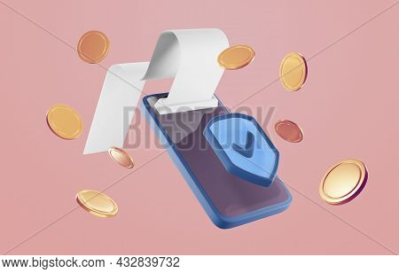 Payment Via Credit Card Concept. Secure Online Payment Transaction With Smartphone. Internet Banking