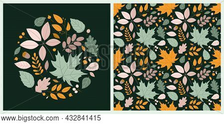 Bright Autumn Set With Round Composition And Seamless Pattern With Autumn Leaves And Berries In Flat