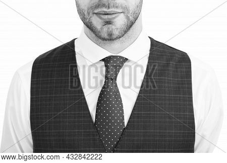 Unshaven Male Face Chin And Neck Skin With Bristle Hair White Collar With Tie, Skincare.