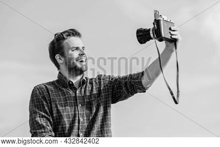 Selfie Time. Travel With Camera. Male Fashion Style. Looking Trendy. Macho Man With Camera. Photogra