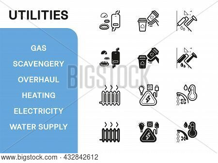 Vector Icon Line And Fill Set. Utilities Collection: Gas, Scavengery, Overhaul, Heating, Electricity