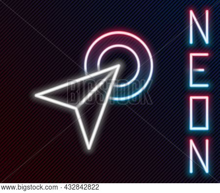 Glowing Neon Line Infographic Of City Map Navigation Icon Isolated On Black Background. Interface Co