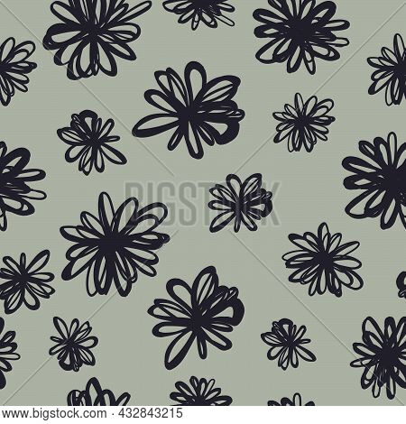 Seamless Pattern Of Figures Resembling Flowers In The Style Of Scrawl For Prints On Fabrics, Clothin
