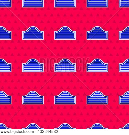 Blue Old Western Swinging Saloon Door Icon Isolated Seamless Pattern On Red Background. Vector