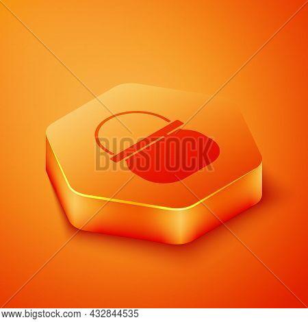 Isometric Halloween Witch Cauldron Icon Isolated On Orange Background. Happy Halloween Party. Orange