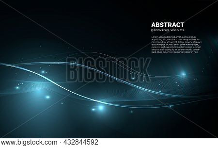 Blue Glowing Waves, Abstract Neon Lines On A Dark Background. Abstract Bright Waves With Glowing Spa