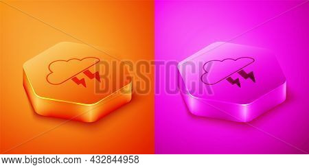 Isometric Storm Icon Isolated On Orange And Pink Background. Cloud And Lightning Sign. Weather Icon