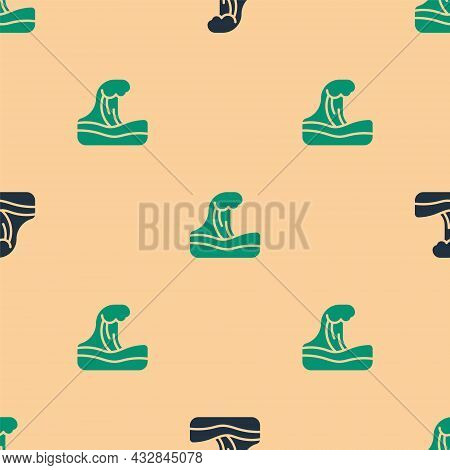 Green And Black Tsunami Icon Isolated Seamless Pattern On Beige Background. Flood Disaster. Stormy W