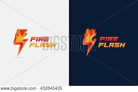 Thunder Flash Lightning Combined With Burning Fire Logo Design. Graphic Design Element.