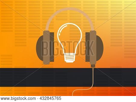 Composition of headphones and light bulb over eq frequency meter on yellow with black copy banner. music ideas and communication concept template with copy space digitally generated image.