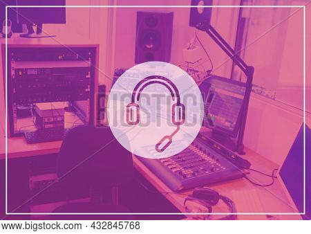 Composition of headset and microphone symbol over digital audio workstation home studio in pnk. music creation and communication concept, digitally generated image.