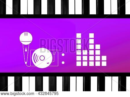 Composition of microphone, with turntable and block frequency meter on purple with piano key border. music, rap and singing event communication concept template with digitally generated image