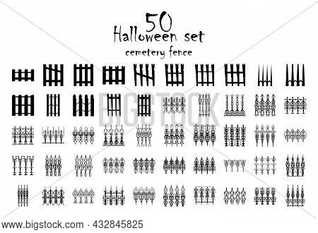 Spooky Cemetery Gate Silhouette Collection Of Halloween Vector Isolated On White Background. Scary,
