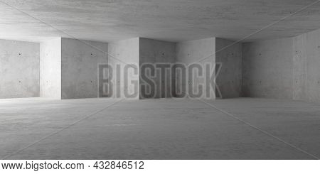 Abstract Empty, Modern Concrete Room With Indirect Lighting From Side Wall, Triangular Shaped Back W