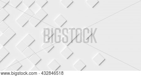 Random Rotated Beveled White Cube Boxes Block Background Wallpaper Banner With Copy Space, 3d Illust