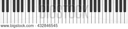 Piano Or Keyboard Keys Five Octaves Flat Lay Top View From Above, 3d Illustration