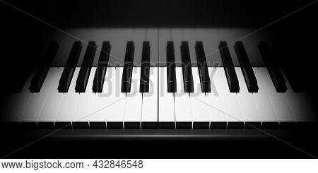 Piano Or Keyboard Keys Close Up With Moody Spotlight, 3d Illustration