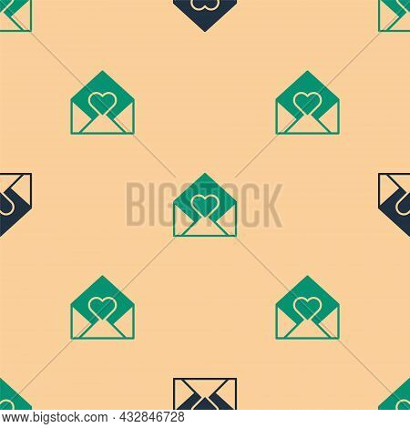 Green And Black Envelope With Valentine Heart Icon Isolated Seamless Pattern On Beige Background. Me