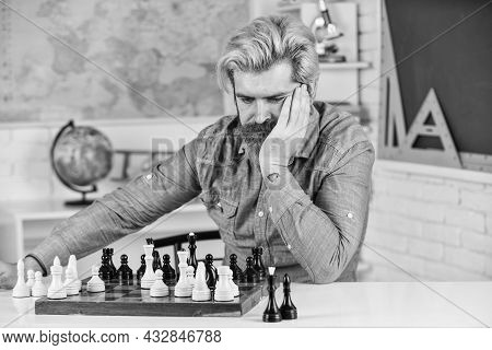 Development Logics. Chess Is Life In Miniature. Chess Lesson. Strategy Concept. School Teacher. Boar