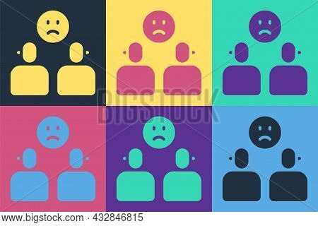 Pop Art Complicated Relationship Icon Isolated On Color Background. Bad Communication. Colleague Com