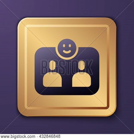 Purple Friends Forever Icon Isolated On Purple Background. Everlasting Friendship Concept. Gold Squa