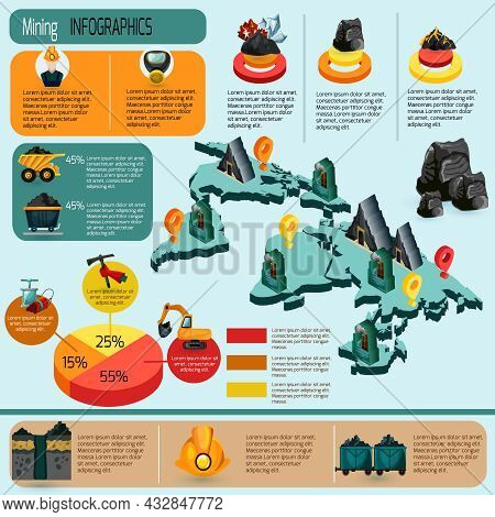 Mining Industry Infographics Set With Mineral Extraction And Production Plants Isometric Elements An