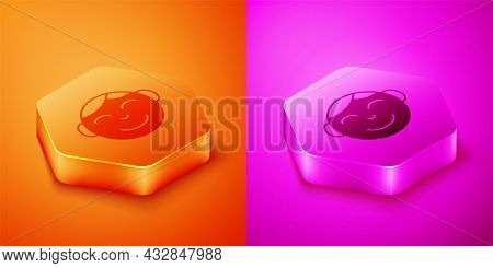 Isometric Happy Little Boy Head Icon Isolated On Orange And Pink Background. Face Of Baby Boy. Hexag