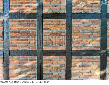 Beautiful Texture Of Old Vintage Half Timbered Brick Walls Found In Germany.