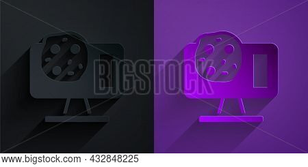 Paper Cut Genetic Engineering Modification On Laptop Icon Isolated On Black On Purple Background. Dn