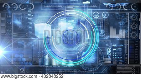 Image of scopes scanning and data processing over digital screen. global technology and digital interface concept digitally generated image.