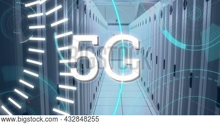 Digital image of futuristic circles moving around 5G with background of corridor of server towers 4k