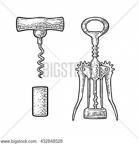 Wing Corkscrew, Basic Corkscrew And Cork. Black Vintage Engraved Vector