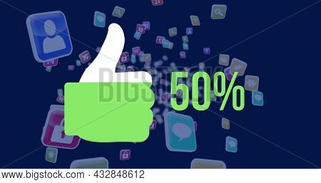 Image of thumbs up shape and increasing percent from zero to sixty filling up with green while colourful cubes with icons appear on the dark blue background 4k