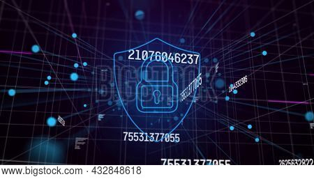 Image of numbers changing with online security padlock over network of connections on blue. global networking technology concept digitally generated image.